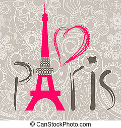 parijs, lettering, op, kant, seamless, model