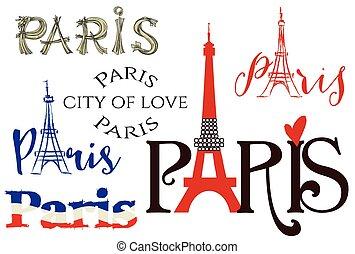 parijs, lettering, set