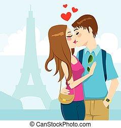 parijs, liefde, kus