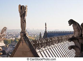 parijs, notre, de, paris., france., mokkel, aanzicht