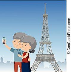 parijs, paar, reizen, bejaarden