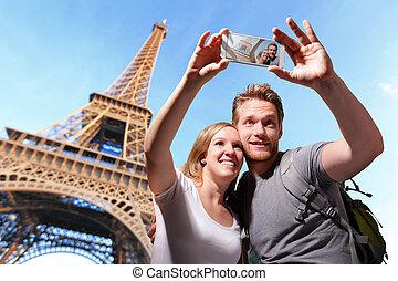 parijs, paar, selfie, vrolijke