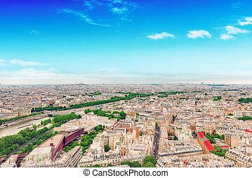 parijs, panorama, eiffel, tower., aanzicht