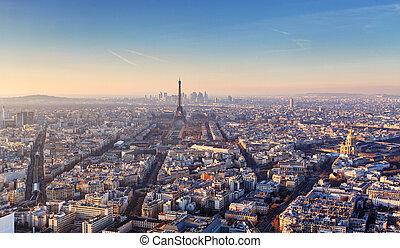 parijs, panorama, ondergaande zon