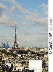 parijs, panorama, toren, eiffel, aanzicht