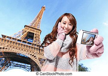 parijs, reizen, vrouw, vrolijke
