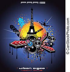parijs, stedelijke , stijl, achtergrond, disco