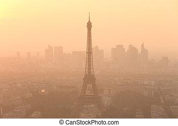 parijs, sunset., luchtmening