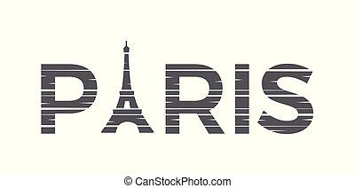 parijs, toren, eiffel, illustratie