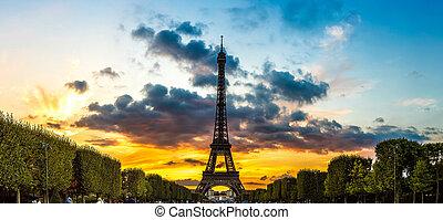 parijs, toren, eiffel, ondergaande zon