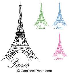 parijs, toren, eiffel, pictogram
