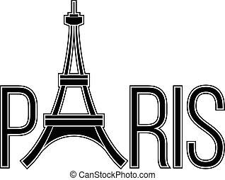 parijs, toren, eiffel, woord