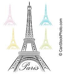 parijs, toren, eiffel, zich verbeelden, pictogram