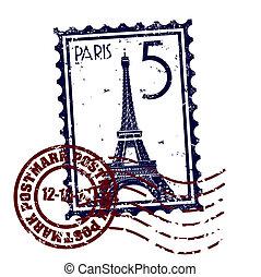 parijs, vrijstaand, illustratie, enkel, vector, pictogram