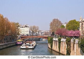 parijs, zegen, toerist, cruise, rivier