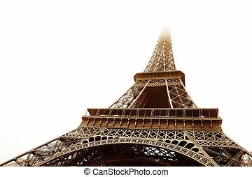Paris #17 - The Eiffel Tower in Paris, France. Sepia tone,...