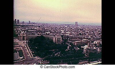 Paris 1970s aerial view - Paris Eiffel Tower aerial view...