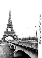 Paris #37 - The Eiffel Tower in Paris, France.Black and...