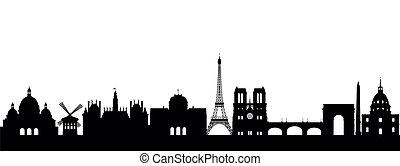 paris, abstrakt, silhouette
