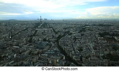 Paris aerial cityscape - Time lapse of Tour Eiffel from...