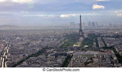Paris aerial skyline - Aerial view of Tour Eiffel and M6...