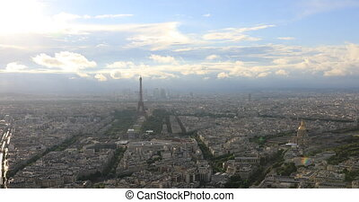 Paris aerial skyline - Tour Eiffel and national residence of...