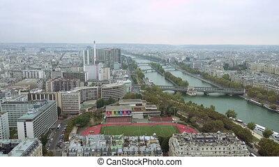 Paris aerial view of Seine and bridge - Paris aerial view of...