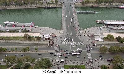 Paris aerial view of Seine river and Jena bridge in Paris,...
