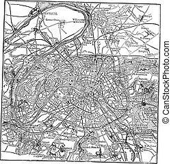 Paris and its environs vintage engraving