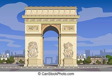Paris, Arc de Triomphe on the Champs Elysees. Vector