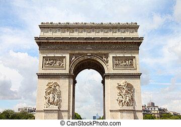 Paris, France - famous Triumphal Arch (Arc de Triomphe) located at the end of Champs-Elysees street. UNESCO World Heritage Site.