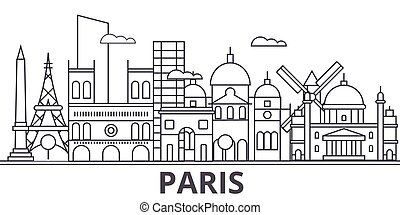 Paris architecture line skyline illustration. Linear vector cityscape with famous landmarks, city sights, design icons. Landscape wtih editable strokes