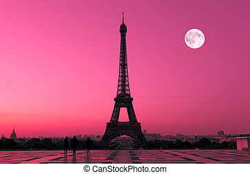 Paris at Dawn - The Eiffel tower in Paris seen from the...
