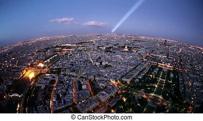 Paris at Dusk with Light Beam