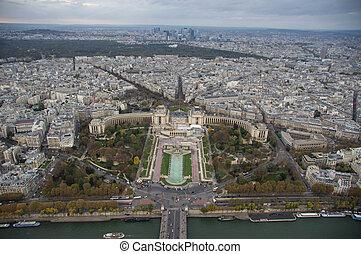 paris, automne, soir, nuageux, vue