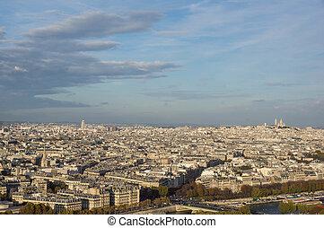 paris, automne, soir, vue