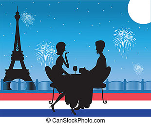Paris Background - A silhouette of a romantic couple...