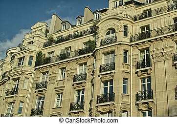 Paris. Beautiful ancient architecture on a winter day