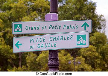 paris, bicicleta, sinais