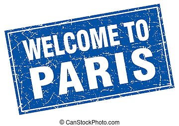 Paris blue square grunge welcome to stamp