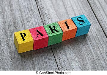 paris, bois, cubes, mot, coloré