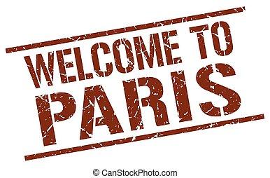 paris, briefmarke, herzlich willkommen