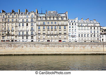 Paris buildings and river in a sunny day in France
