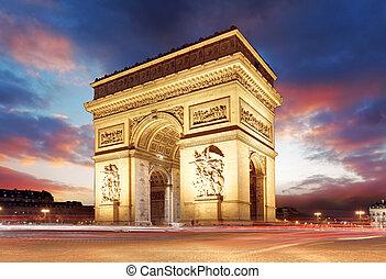 paris, célèbre, arc triomphe, à, soir, france