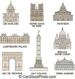 paris, célèbre, places.