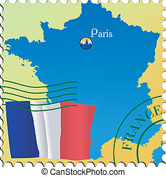 Paris - capital of France. Stamp