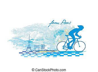 paris, cartaz, -, ciclismo, grunge