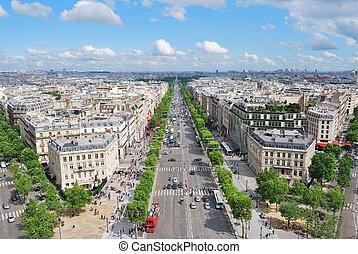 Paris. Champs Elysees - Paris. View of the Champs Elysees...