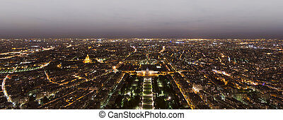 Paris city at night, France. View from Eiffel Tower top