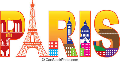 Paris France City Skyline Text Outline with Eiffel Tower Color with Reflection Isolated on White Background Panorama Illustration
